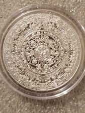 1 oz .999 Silver Aztec Calendar Stone, Eagle Warrior Emperor of Tenochtitlan NEW