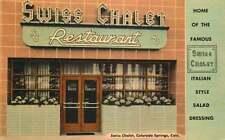 Linen Roadside Postcard Swiss Chalet Restaurant, Colorado Springs, Colorado