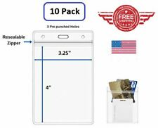 ID Card Holder Clear Plastic Badge Resealable Waterproof Business Case 10Pcs