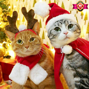 Christmas Cat Dog Costumes Winter Hat Red Scarf Deer Head Cloak Warm Pet Clothes