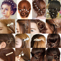 Beauty Women Gold Silver Geometry Flower Hairpin Hair Clip Hair Accessories Gift