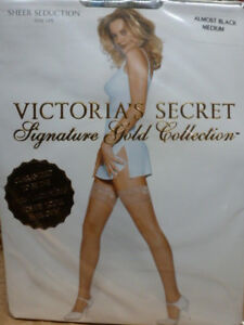 NIP Victoria Secret Signature Gold Thigh-high stay-up stockings Almost Black M