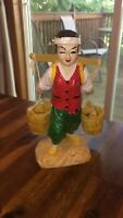 Vintage Mid Century Chinese Figurine of Man Carrying Buckets of Water