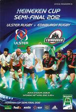Ulster V Edimburgo Heineken europea de Copa semi-final Programa Rugby 28 de abril de 2012