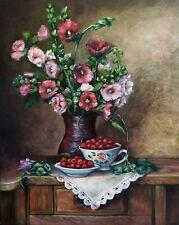 Hollyhocks flowers vase raspberry original painting oil canvas 20 x 16 signed