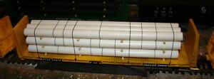 HO scale Roundhouse TTX 60' bulkhead flatcar #90418 with pipe load train
