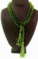 "JOAN RIVERS FACETED GREEN CZECH GLASS BEAD 47"" LARIAT NECKLACE TASSEL NEW IN BOX"