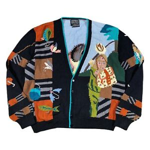 VINTAGE 80s Berek Cardigan Large Fly Fishing Knit Marta D Cotton Uruguay