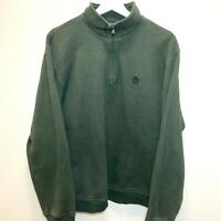 Vintage IZOD Small Logo Sweatshirt 1/4 Zip Jumper Khaki Green | Large L