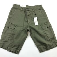 Adriano Goldschmied Mens Olive Green The Bunker Tailored Cargo Shorts 29 NEW