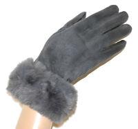 GUANTES GRISES mujer piel sintética gamuza elegante invierno luvas cinza G8