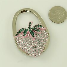 "Crystal Handbag Purse Folding Hanger Hook Holder ""Strawberries"" #1"