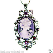 Purple CAMEO made with Swarovski Crystal Victorian Style Princess Charm Necklace