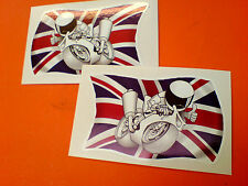 UNION JACK & MOTORCYCLE GB UK Stickers Decals 2 off 75mm