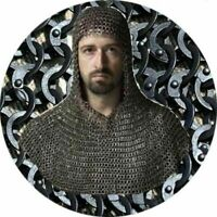 Mild Steel Flat Riveted Black Chain mail Coif /Hood Chainmail Medieval