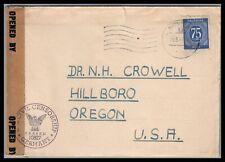 Germany 1947  censored cover to Hillsboro Oregon letter enclosed