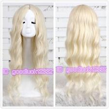 75cm Alice in Wonderland White Queen curly wave blonde cosplay wig + a wig cap