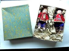 Paire ANTIQUE CHINESE DOLLS Chine ancienne Vintage Broderie Brodé Robe jetons
