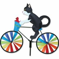 """20"""" Tuxedo Cat on a Bicycle Wind Spinner Made w/ Sun Tex Outdoor Materials"""
