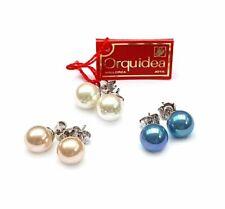 925 Silber Orquidea 1 Paar Ohrstecker mit Mallorca-Perlen 8, 10, 12mm, Hochzeit