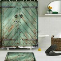 4Pcs/Set Vintage Tür Duschvorhang Bad Grün Matte Teppich Wc Deckel Wasserfest