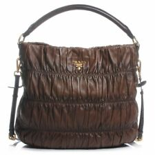Prada Nappa Gaufre Hobo Shoulder Bag Brown Ruched Leather Logo Buckle Large