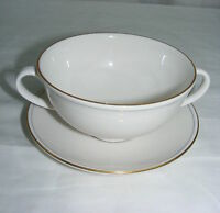 Vintage White China 2 Handled Cream Soup Bowl with Underplate Made in England