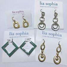 Enamel Earrings Lot (4 Pieces) Lia Sophia Silver/Gold Tone Green