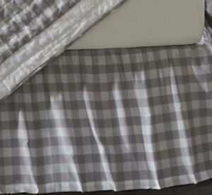 Gray and White King Gathered Cotton Bed Skirt Split Corners Annie Buffalo Check