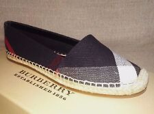 BURBERRY BRIT HODGSON ESPADRILLES 36 6 NAVY CHECK  WOMAN SHOES SPRING SUMMER