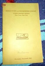 US ARMY ROSTER THANKS MENU FOURTH ARMORED BRIGADE PINE CAMP NY FORT DRUM 1941