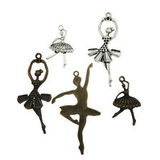 Pack of 5 Vintage Zinc Alloy Dancing Girls Charms Pendants Mix Craft Findings