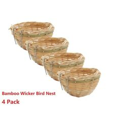 4x Bamboo Canary Nest Bird Breeding Hatch Cage Small Parrot Rest Caves with Hook