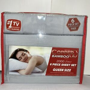 Infused Copper X Bamboo 2000 Series 6pc Queen Size,deep Pocket-AS SEEN ON TV