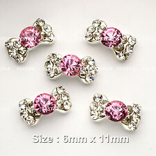 10 Pcs Alloy Bow Tie Jewelry 3D DIY Pink Rhinestone Nail Art Glitters Slices