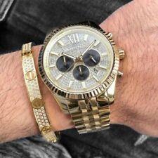 NEW GENUINE MICHAEL KORS MK8494 MEN'S WATCH LEXINGTON GOLD CRYSTAL BNIB UK