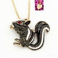 Betsey Johnson Retro Enamel Crystal Squirrel Pendant Chain Necklace/Brooch Pin