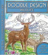 DOODLE DESIGN __ WILDLIFE __ BRAND NEW ADULT COLOURING BOOK  BLUE COVER