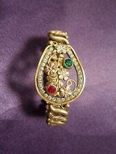 Carmen DFB co Stretch Flower Gold Tone Bracelet W/ White, Red, Green Rhinestones
