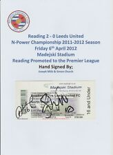 READING V LEEDS UNITED 2012 MATCHDAY TICKET AUTOGRAPHED 2 X SIGNATURES