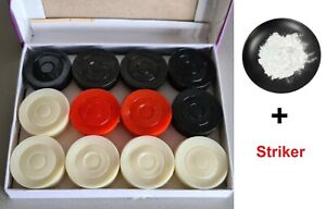 Fancy Plastic Carrom Board Coins 24 pack Box + One Striker + Powder 100g