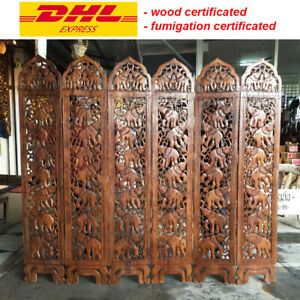 Wood Hand Carved Partition Elephant Screen Room Divider Separator 180x210x1 cm