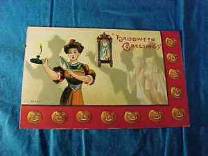 Early 20thc HALLOWEEN EC BANKS POSTCARD with SPIRITS In The NIGHT Image