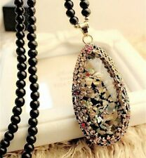 Crystal Shell Opal Stone Long Sweater Chain Necklace