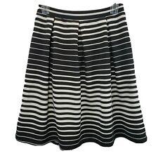 Joe B Black & White Striped Stretchy Comfy Pleated Skirt Women's Size Medium