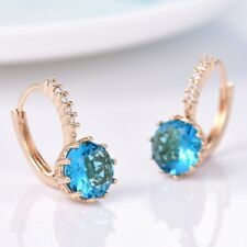 New Vintage Blue Aquamarine&Swarovski Crystal Women Fashion Leverback Earrings