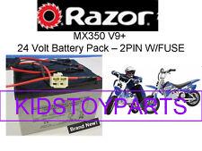 New! 24V Battery Pack for Razor MX350 DIRT ROCKET BIKE V9+ (2 pin w/fuse)