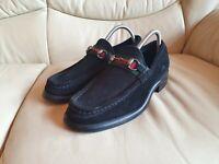 Gucci Mens Vintage Shoes Black Suede  Horsebit Loafers UK 6.5 US 7.5  EU 40.5