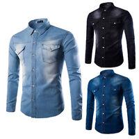 Luxury Mens Classic Casual Denim Shirt Long Sleeve Stylish Slim Fit Dress Shirts