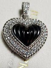 Judith Ripka Sterling Silver Ribbed Onyx CZ Heart Pendant Enhancer  ~New in Box~